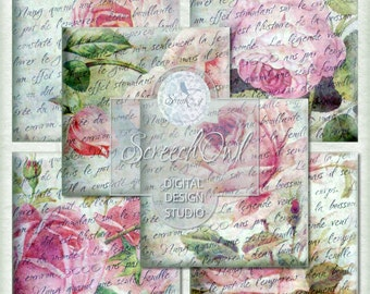 Vintage Rose Coasters, Collage Sheet - Squares, Instant Download, Paper Craft Supplies
