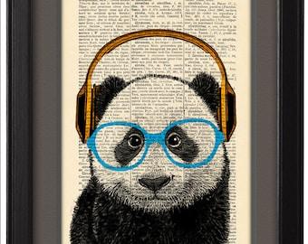 Panda headphones, Geekery Panda with glasses, music art print, Gift poster, Home dorm wall decor, CODE/106