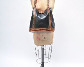 vintage leather purse BRAHMIN bag croc embossed made in united states bucket bag