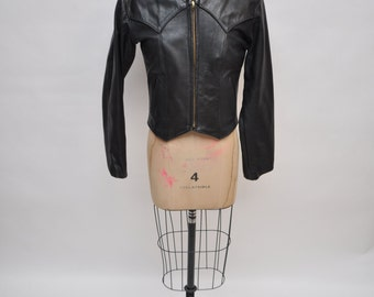vintage leather jacket cafe racer 1970s womens indie small custom made
