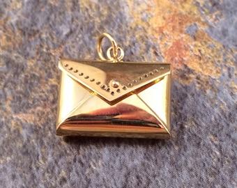 Envelope Charm, Envelope Pendant, Love Letter Charm, Bronze Charm, Bronze Pendant, Bronze Envelope Charm