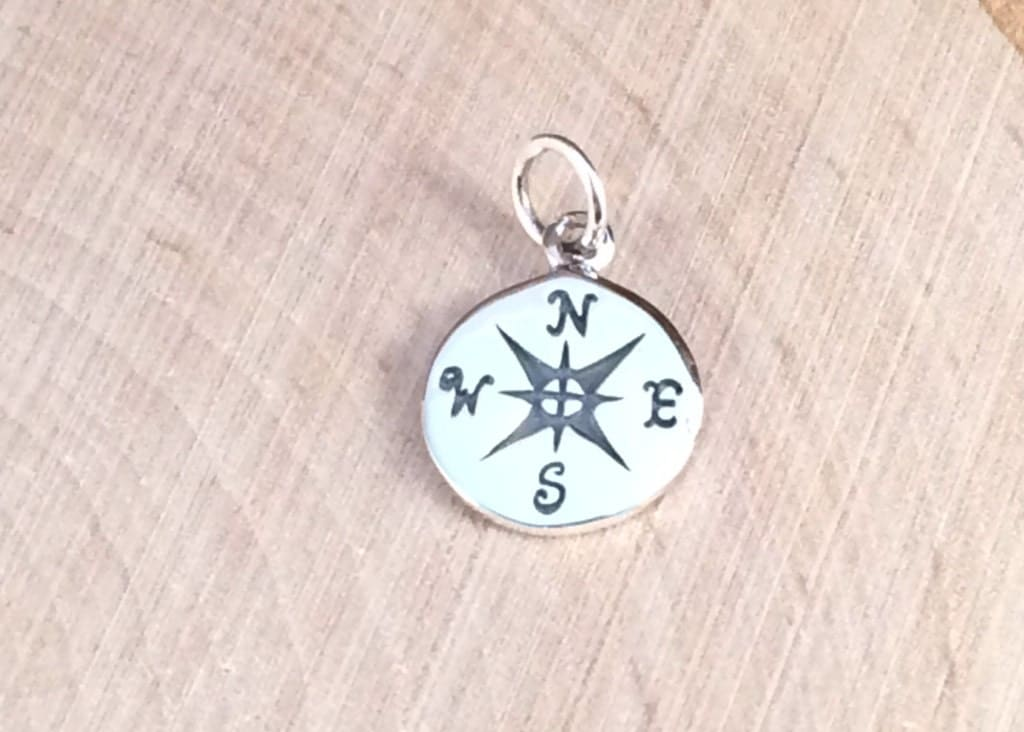compass charm compass pendant sterling silver by