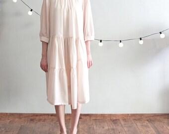 Bohemian asymmetrical tiered seams dress
