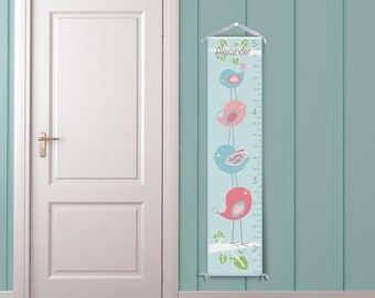 Bird Tower in Blue - Personalized Growth Chart