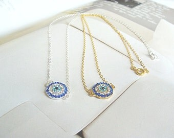 fashion silver  Evil Eye Necklace with cubic zirconia evil eye charm - evil eye necklace gold, evil eye necklace arrives in Gift Box!