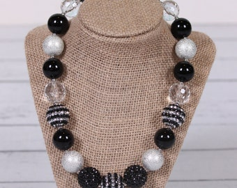 black and silver rhinestone chunky bubblegum necklace