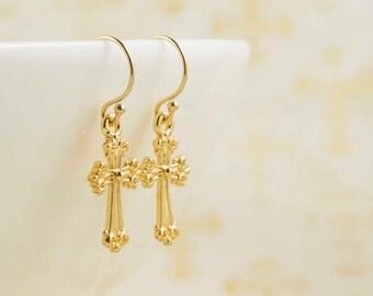 Gold Cross Earrings, cross earrings - gold filled, costume wedding jewelry , bridesmaid gift, daily jewelry, Minimalist