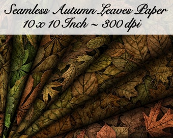 10 Digital Seamless Autumn Leaves Textures Digital Papers. 10 Inch. 300 DPI