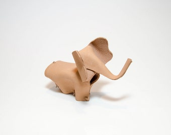 Handmade Light Brown Leather Elephant- Desk Accessory