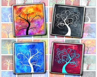 Tree of Life  Square Images 1 inch, 1.5 inch Printables for Scrapbooking, Pendants Digital Collage Sheet Instant Download