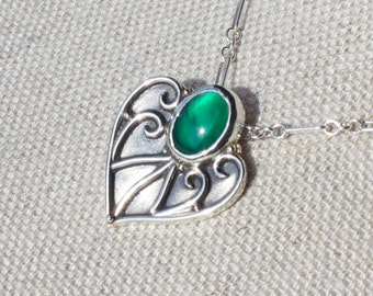 Earth Elemental Necklace Argentium Silver with Green Onyx