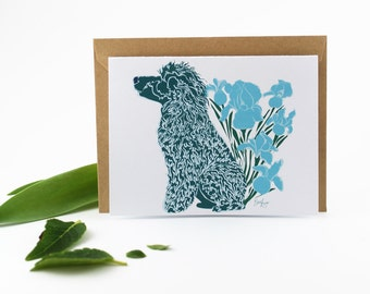 Poodle with Irises Card