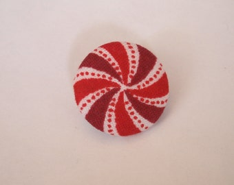 Red and white peppermint Christmas fabric covered buttons (size 60, 40, 32, 20, or 18)