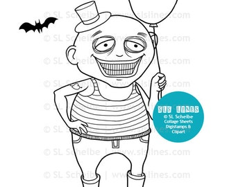 Goth digital stamp, goth boy digistamp, Halloween creepy coloring