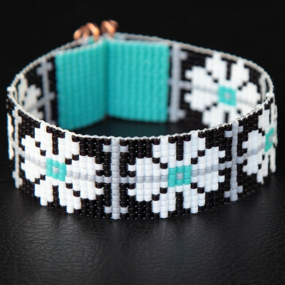Black White Turquoise Floral Bead Loom Cuff Bracelet Native