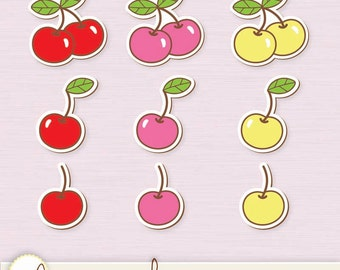 Cherries Clip Art 9 Colors - Digital Files PNG and VECTOR EPS / Clipart / Cherry / Sticker Look