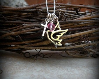 Dove necklace, Religious necklace, Dove and Cross necklace, Confirmation necklace