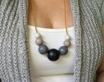 Wooden bead necklace. Grey ombre necklace. Gift for mom. Jewelry under 50. Statement necklace. Hand painted beads. Capsule wardrobe.