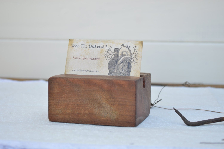 Business card holder desk Business card holder wood Wooden