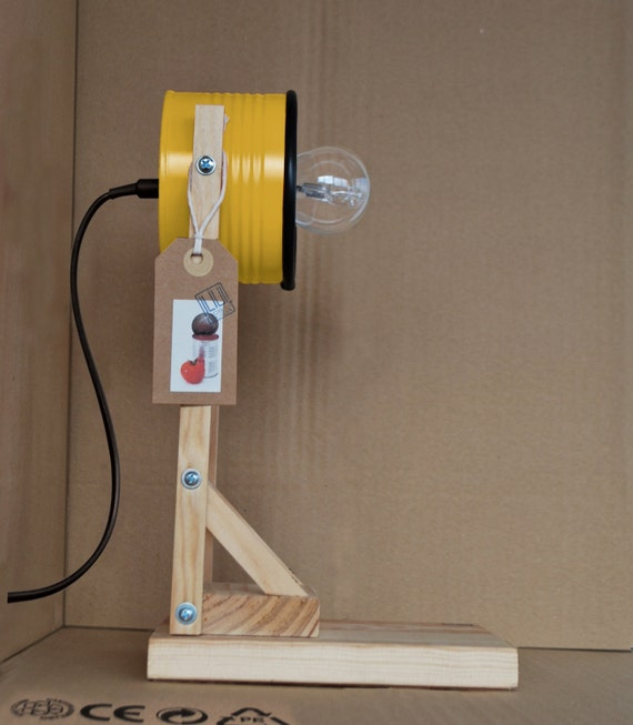 "Yellow ""bee"" -  desk lamp / bedside lamp / table lamp - eco friendly: recycled from tomato can !!! UK or EURO or US plug"