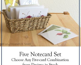 Set of 5 Blank Notecards - Your Choice