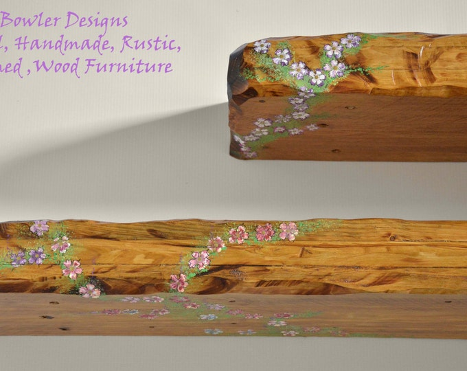 Bespoke Country Cottage Rustic Reclaimed Wood Floating Shelf Medium Oak Stain with Cottage Flower Design Fixings Supplied