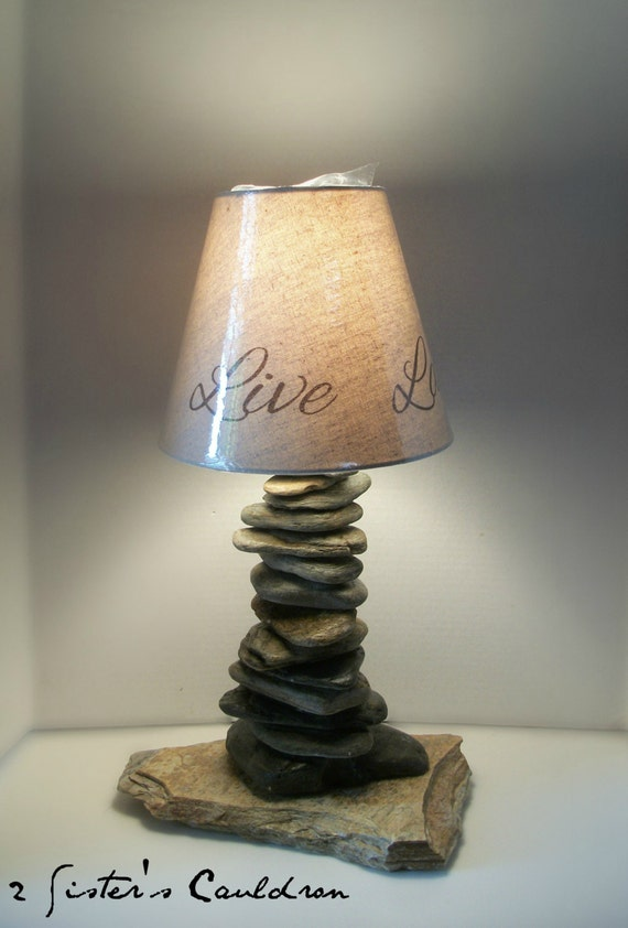 Items similar to mountain river rock table lamp on etsy for River rock lamp