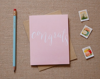 Calligraphy Congrats Greeting Card -  Peach and White Congratulations