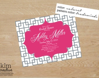 Quatrefoil and Lattice Postcard Invitations