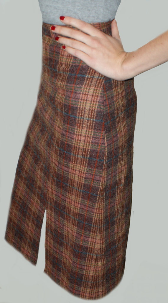 wool plaid skirt below knee tartan checkered pencil skirt