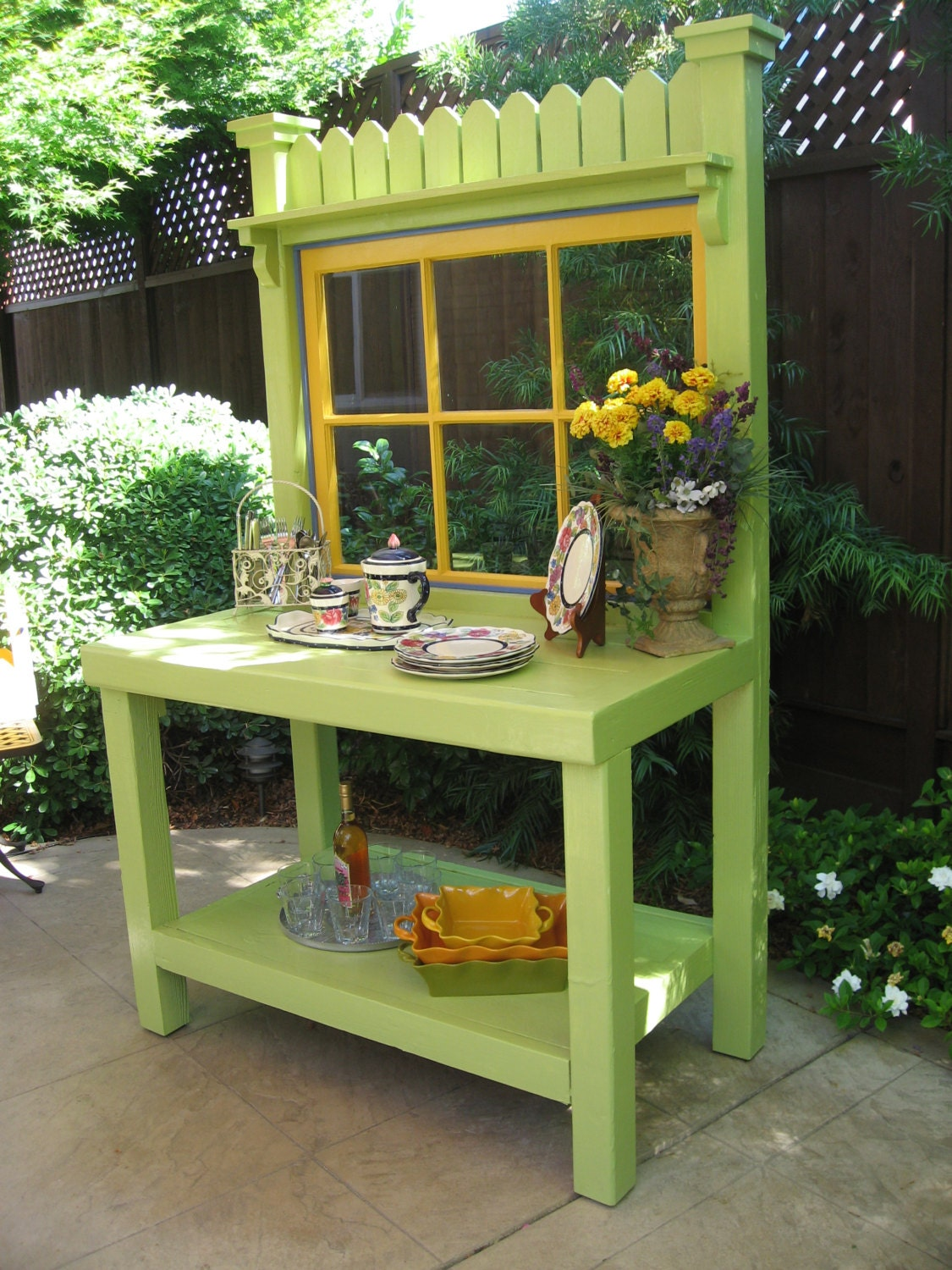 Green Potting Bench with Vintage Window
