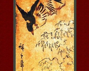 "Asian art. ""Flowers and Birds"" (8) by Ando Hiroshige. Asian picture  Old Japanese painting. Fine art."