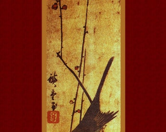 "Print art. ""Flowers and Birds"" (4) by Ando Hiroshige. Asian art. Old Japanese painting."