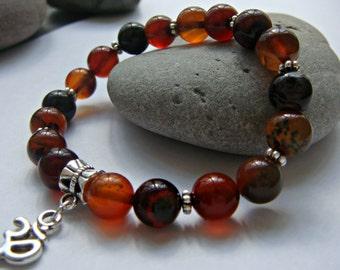 Om bracelet, Yoga bracelet, ohm bracelet, Onyx bracelet, bracelet UK, Meditation bracelet, UK seller