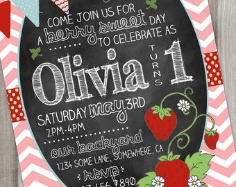 Strawberry Birthday Invitation, Chalkboard with Chevron 5X7 Digital or Printed