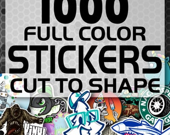 1000 Custom Vinyl Stickers - Promotional Stickers - Choose your shape - Laminated Stickers - Not Paper Stickers