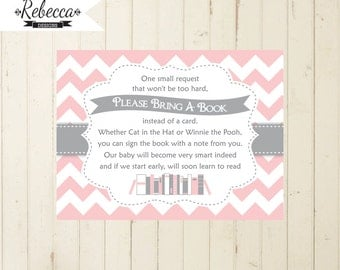 baby shower book insert bring a book card printable bring a book instead of card baby shower insert bring book insert pink grey 105 134