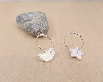 Silver star & moon earrings,  Fine silver star moon charms on sterling silver hoops, Silver moon charm, silver star charm, Made in the UK