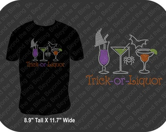 Halloween bling Trick or liquor shirt Halloween bling shirt Halloween trick or treat bling rhinestone shirt Halloween drink shirt Halloween