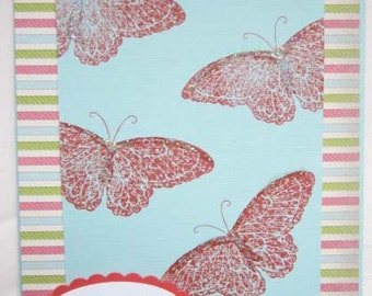 Handmade Encouragement Card: featuring orange butterflies on blue with glitter accents; Every Day Holds the Possibilities of Miracles