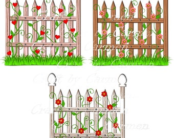 fence flower garden clip art scrapbook graphic design personal