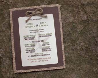 Burlap Wedding Programs - Custom Made Rustic/Vintage Decor