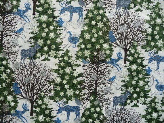 Blue Quilt Fabric Blue Christmas Fabric in The