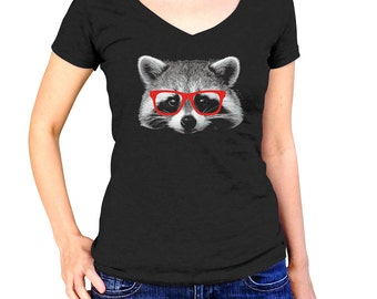 Glasses on a Raccoon Shirt - Hipster Raccoon T-Shirt - Raccoon Tshirt - (Please see SIZING CHART in Item Details)