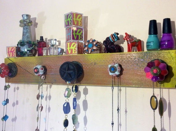 Necklace holder /jewelry wall organizer / Jewellry wall storage hanging display/ wall rack reclaimed wood decor 5 knobs