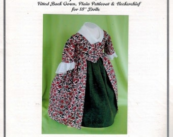 SALE COMPLETE KIT 18 Inch Historical Doll 18th 19th Century Fitted Back Gown Plain Petticoat Dress Clothes Felicity American Girl Past Craft