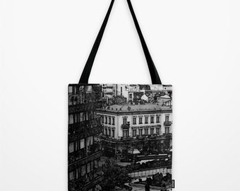City Center Black & White Tote Bag, Urban Photography, Architecture, Buildings, Gray Shopping Bag, Shoulder Bag, Gift Bag