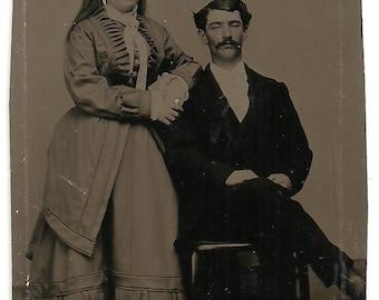 Handsone Victorian Era Couple Tintype