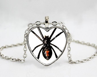 Black Widow Spider Pendant Necklace // Arachnid Jewelry // Pendant Necklace or Key Chain