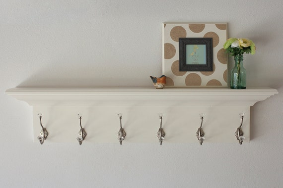 Coat rack wood wall shelf floating white in multiple lengths